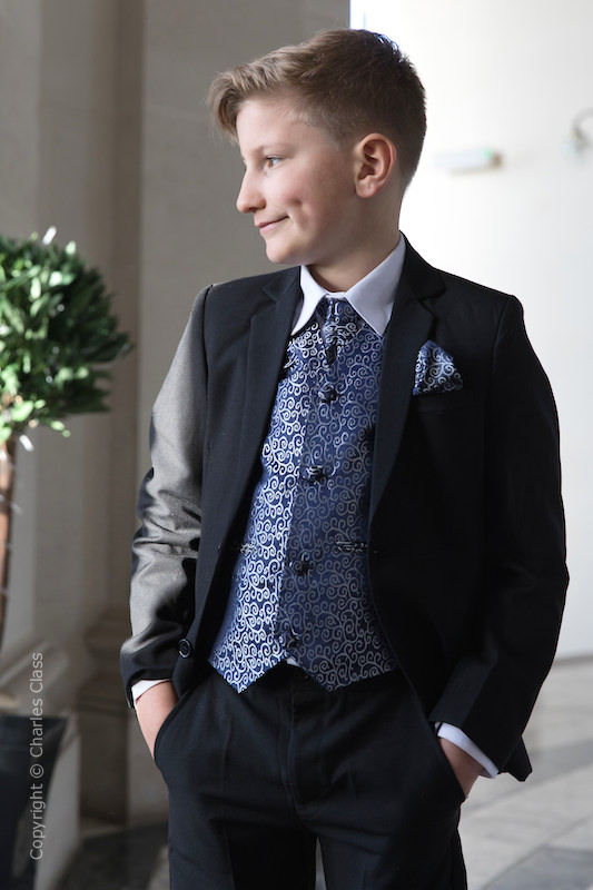 Boys Black & Navy Scroll Jacket Suit - Roland