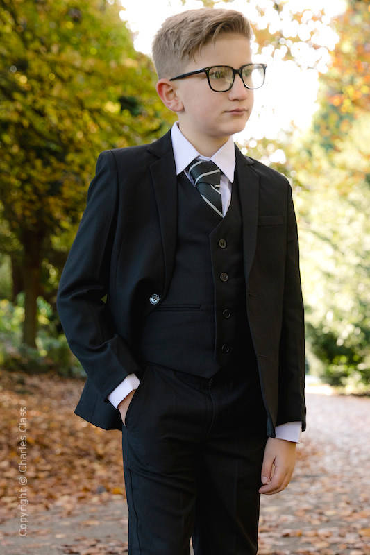 Boys Black Slim Jacket Suit - Marcus