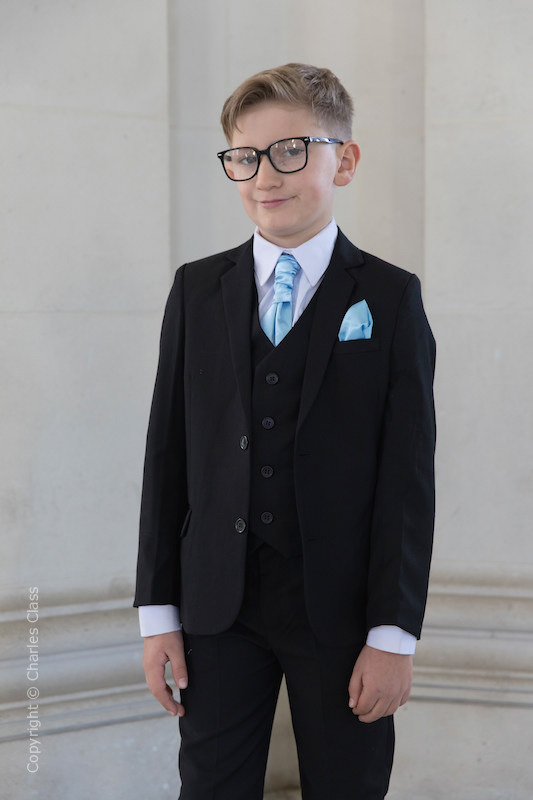 Boys Black Suit with Sky Blue Cravat Set - Marcus
