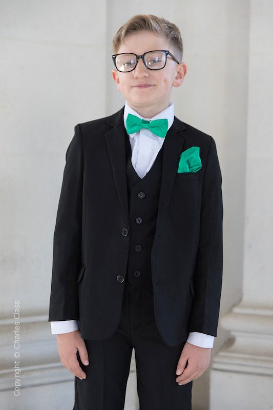 Boys Black Suit with Emerald Green Bow & Hankie - Marcus