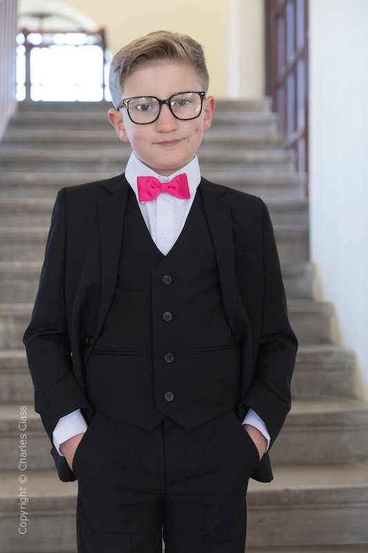 Boys Black Suit with Hot Pink Dickie Bow - Marcus