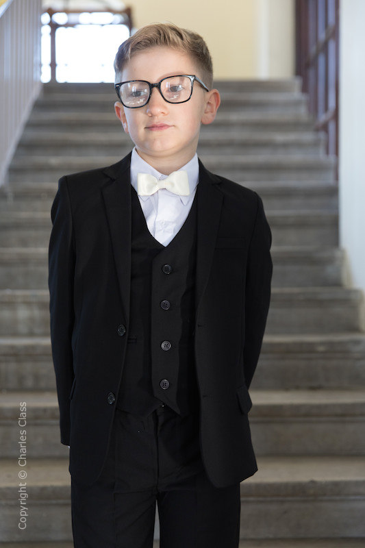 Boys Black Suit with Ivory Dickie Bow - Marcus