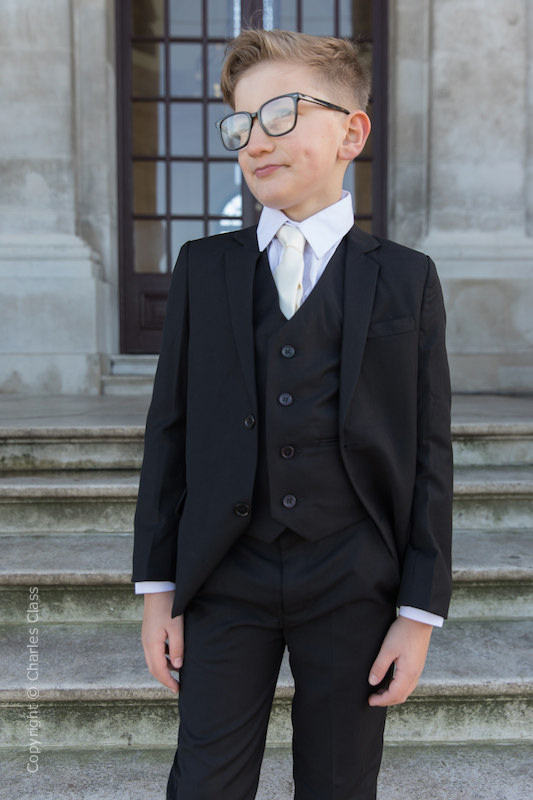 Boys Black Suit with Ivory Tie - Marcus