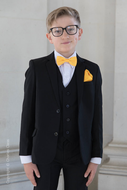 Boys Black Suit with Marigold Bow & Hankie - Marcus