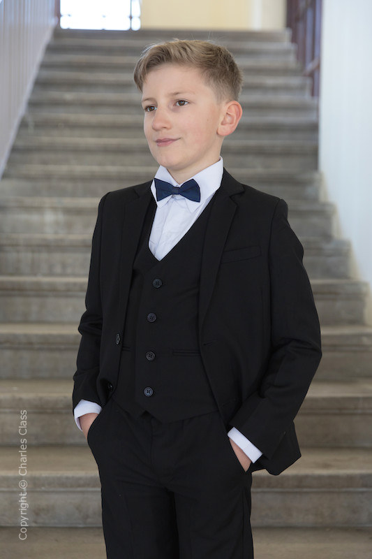 Boys Black Suit with Navy Dickie Bow - Marcus