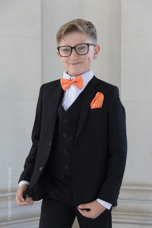 Boys Black Suit with Orange Bow & Hankie - Marcus