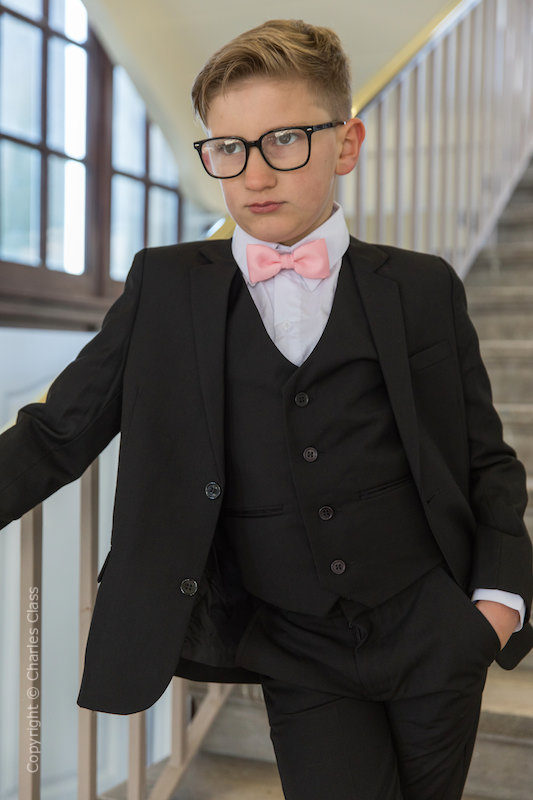 Boys Black Suit with Baby Pink Dickie Bow - Marcus