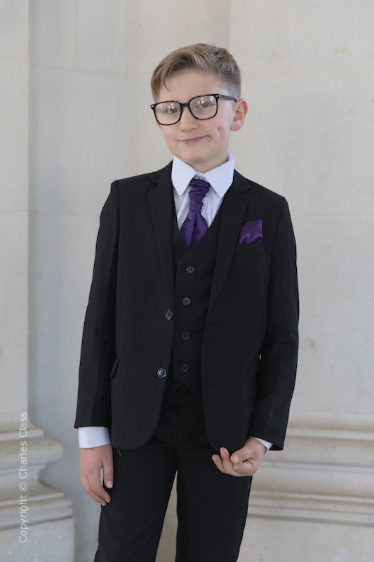 Boys Black Suit with Purple Cravat Set - Marcus