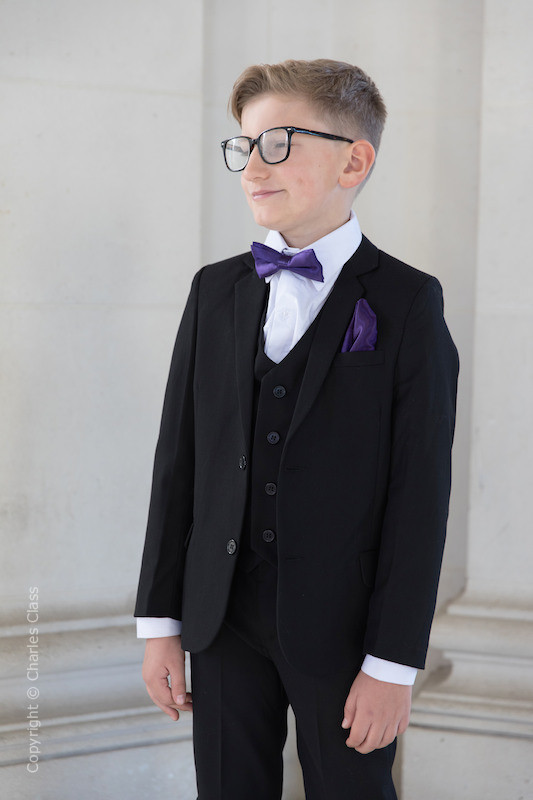 Boys Black Suit with Purple Bow & Hankie - Marcus