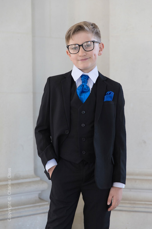 Boys Black Suit with Royal Blue Cravat Set - Marcus