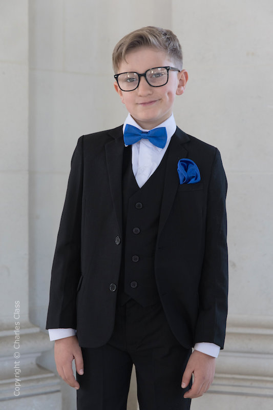 Boys Black Suit with Royal Blue Bow & Hankie - Marcus
