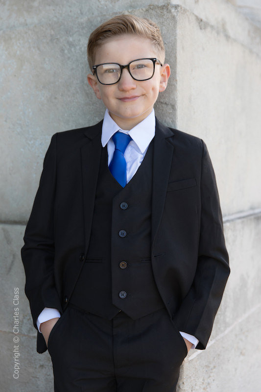 Boys Black Suit with Royal Blue Tie - Marcus