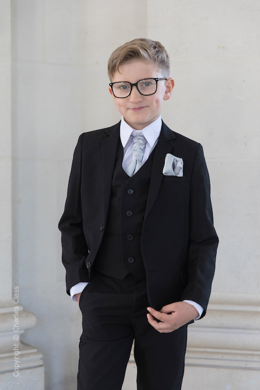 Boys Black Suit with Silver Cravat Set - Marcus