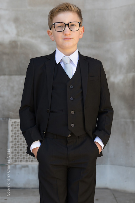Boys Black Suit with Silver Tie - Marcus