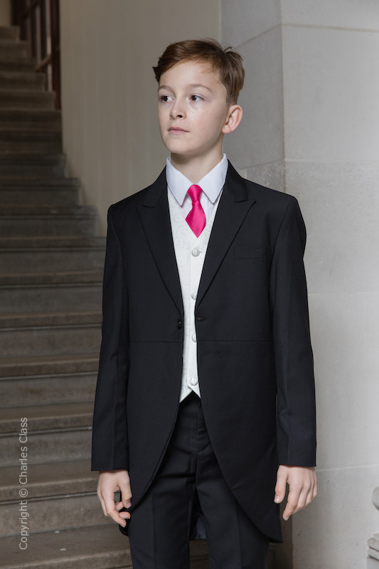 Boys Black & Ivory Tail Suit with Hot Pink Tie - Philip