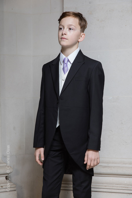 Boys Black & Ivory Tail Suit with Lilac Tie - Philip