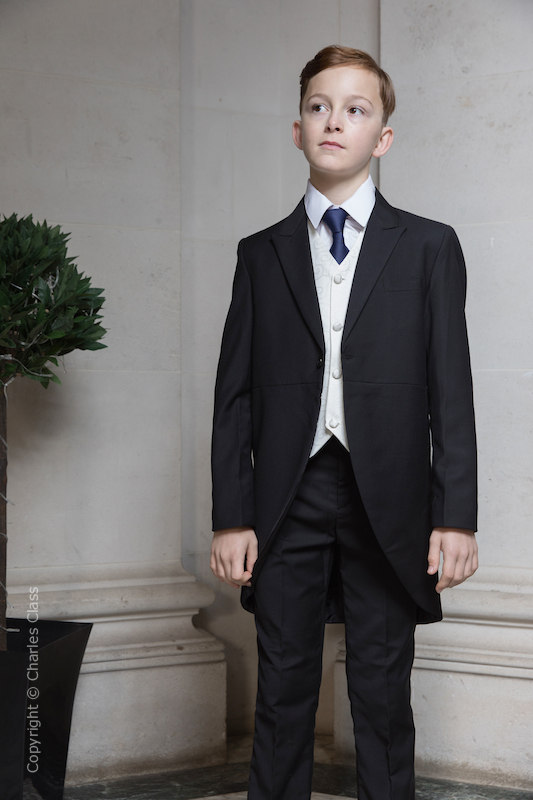 Boys Black & Ivory Tail Suit with Navy Tie - Philip
