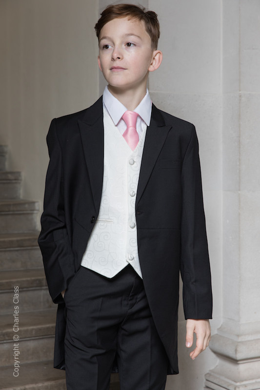 Boys Black & Ivory Tail Suit with Baby Pink Tie - Philip