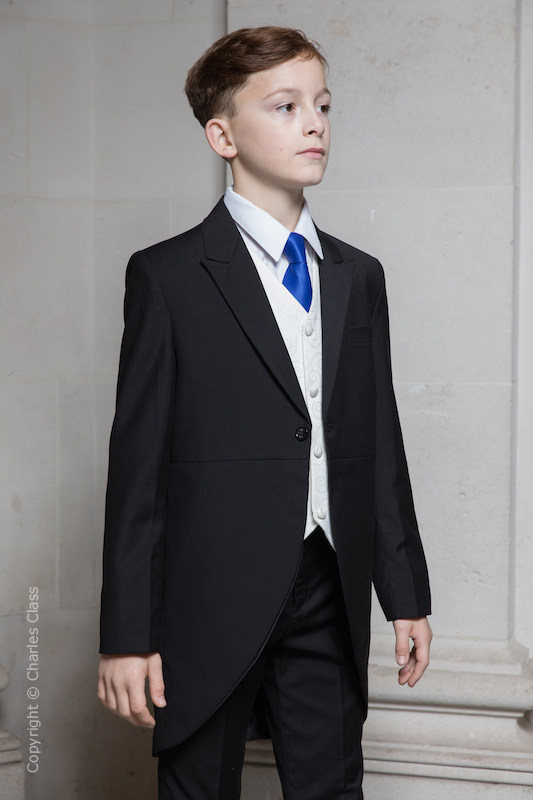 Boys Black & Ivory Tail Suit with Royal Blue Tie - Philip