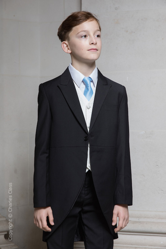 Boys Black & Ivory Tail Suit with Sky Blue Tie - Philip
