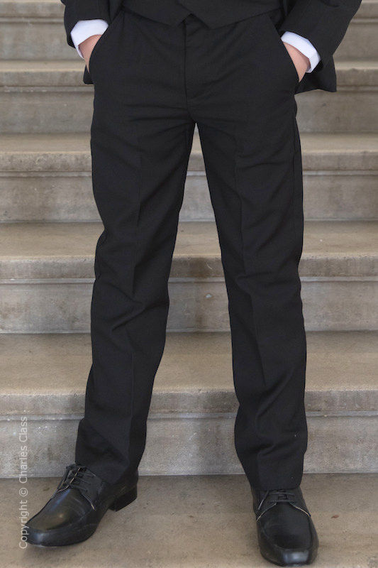 Boys Black Slim Fit Trousers