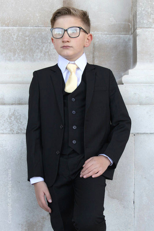 Boys Black Suit with Gold Tie - Marcus