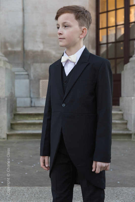 Boys Black Tail Coat Suit with Ivory Bow Tie - Ralph