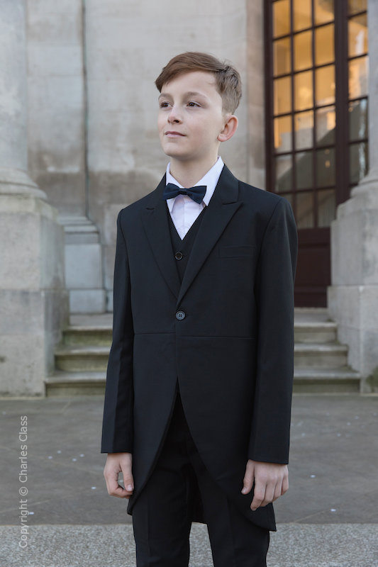 Boys Black Tail Coat Suit with Navy Bow Tie - Ralph