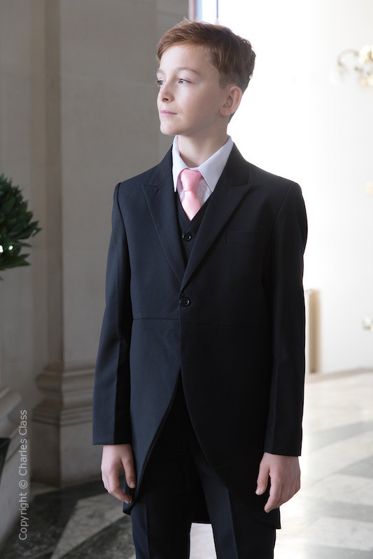 Boys Black Tail Coat Suit with Baby Pink Tie - Ralph