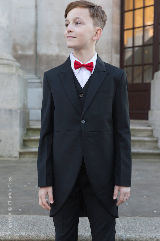 Boys Black Tail Coat Suit with Red Bow Tie - Ralph