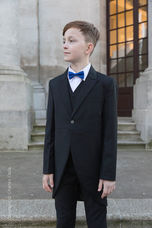 Boys Black Tail Coat Suit with Royal Bow Tie - Ralph