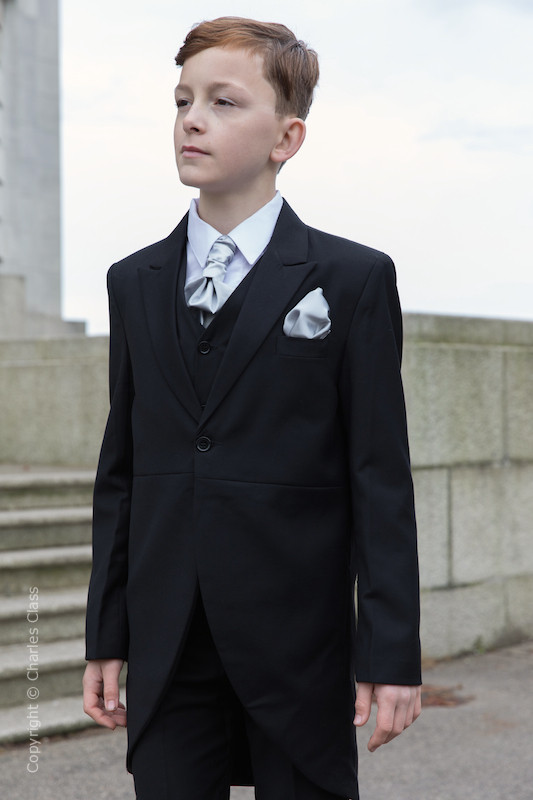 Boys Black Tail Coat Suit with Silver Cravat Set - Ralph