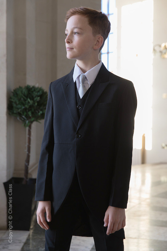 Boys Black Tail Coat Suit with Silver Tie - Ralph