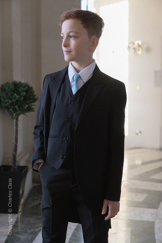 Boys Black Tail Coat Suit with Sky Blue Tie - Ralph