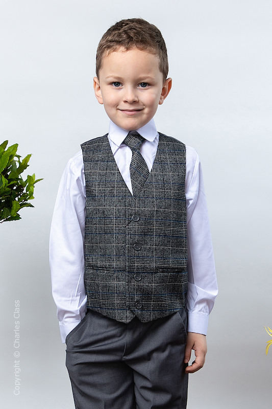 Boys Grey Trouser Suit with Blue Check Tweed Waistcoat - Charlie