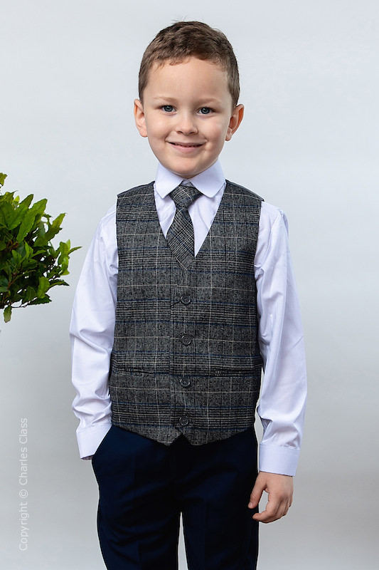Boys Navy Trouser Suit with Blue Check Tweed Waistcoat - Roman