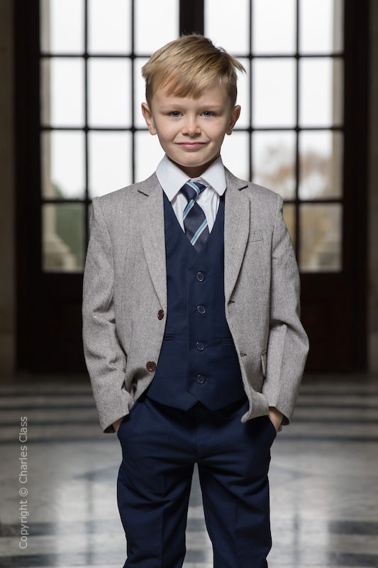 Boys Navy Trouser Suit with Brown Tweed Jacket - Hugh