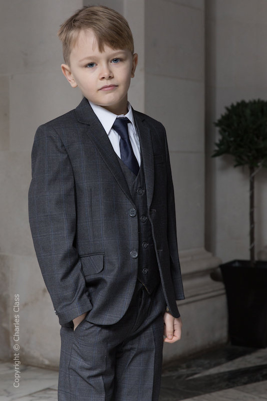 Boys Charcoal Grey Check Jacket Suit - Connor