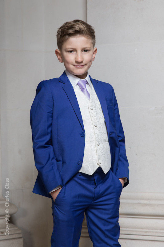 Boys Electric Blue & Ivory Suit with Lilac Tie - Bradley