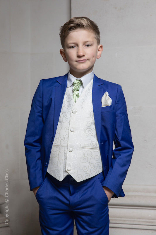 Boys Electric Blue & Ivory Suit with Mustard Green Cravat - Bradley