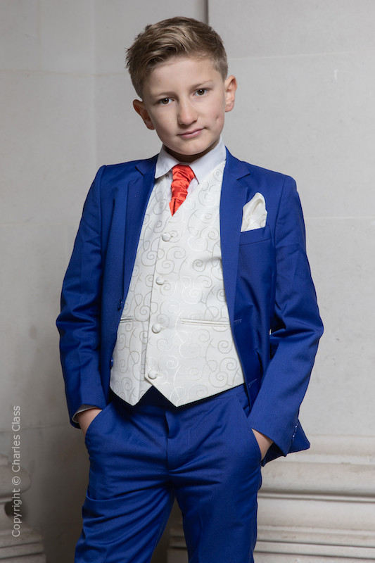 Boys Electric Blue & Ivory Suit with Poppy Red Cravat - Bradley