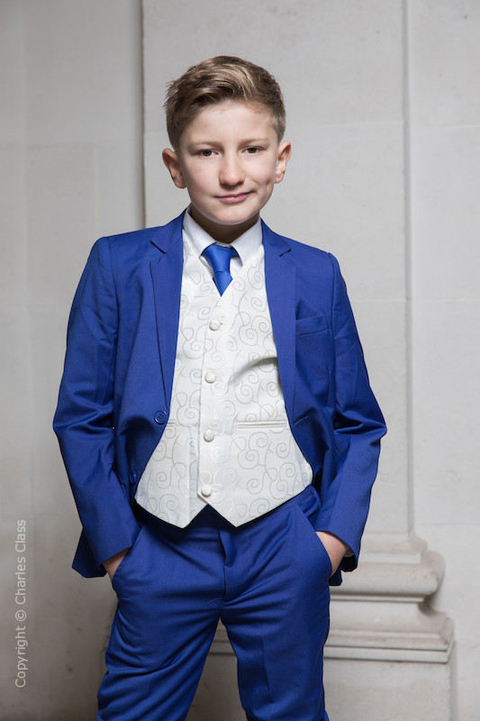 Boys Electric Blue & Ivory Suit with Royal Blue Tie - Bradley
