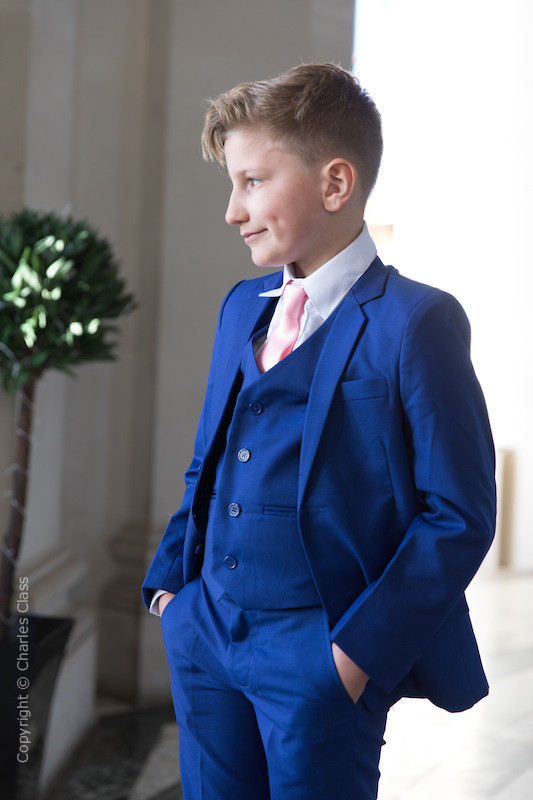 Boys Electric Blue Suit with Baby Pink Tie - Barclay