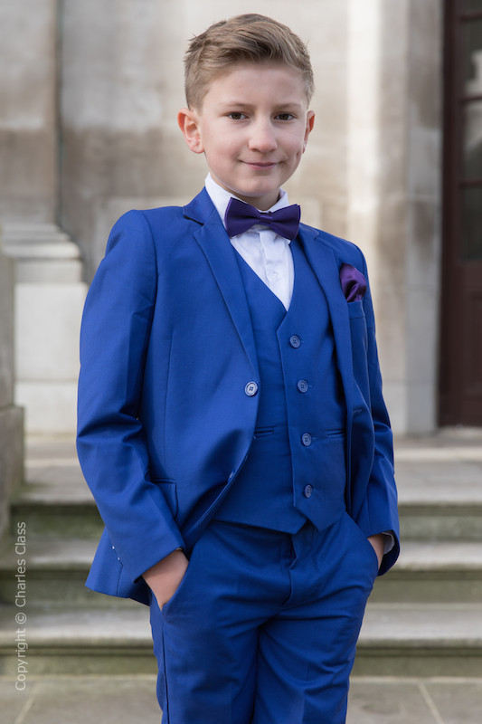 Boys Electric Blue Suit with Purple Bow & Hankie - Barclay