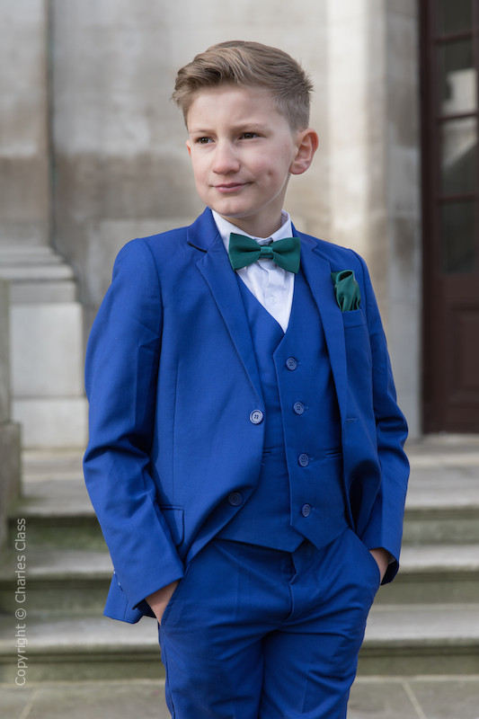 Boys Electric Blue Suit with Forest Green Bow & Hankie - Barclay