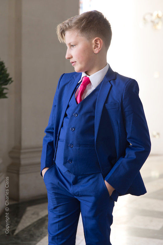 Boys Electric Blue Suit with Hot Pink Tie - Barclay