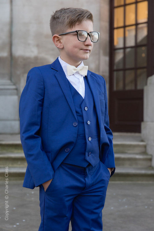 Boys Electric Blue Suit with Ivory Dickie Bow - Barclay