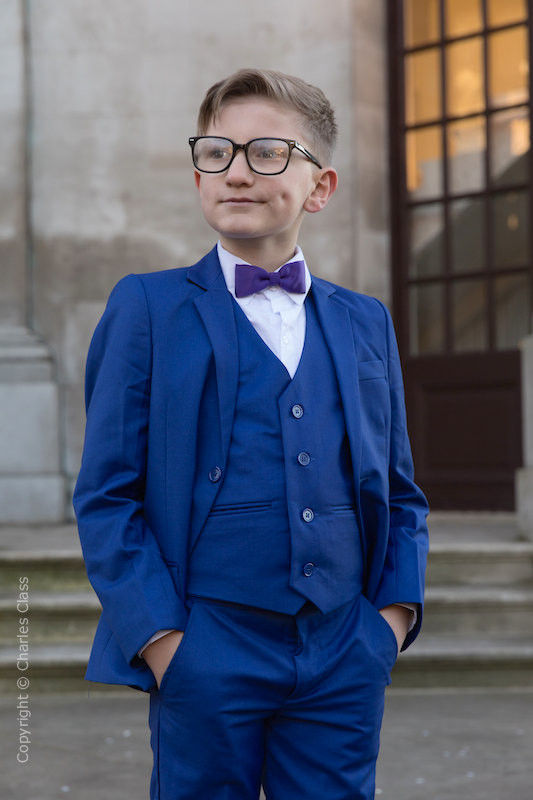 Boys Electric Blue Suit with Purple Dickie Bow - Barclay