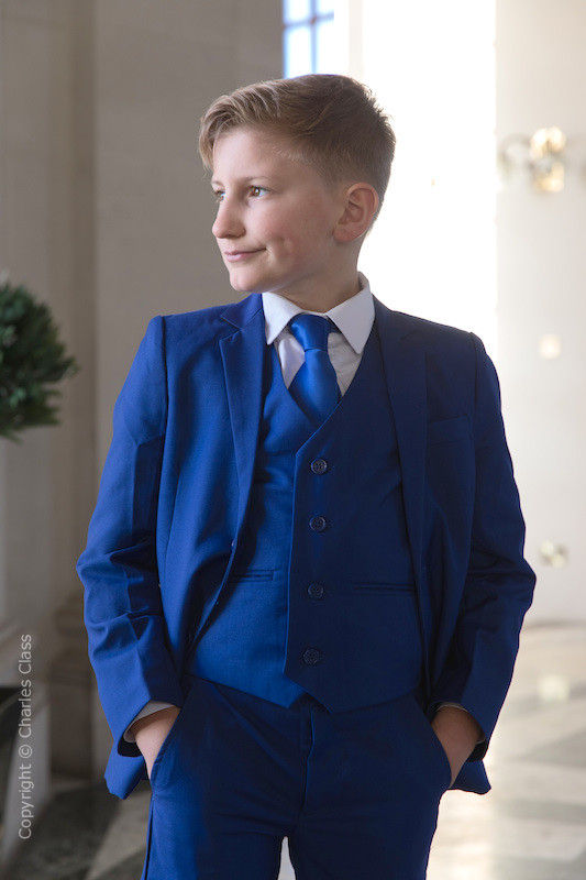 Boys Electric Blue Suit with Royal Blue Tie - Barclay