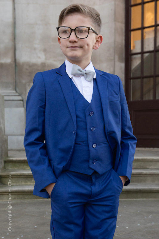 Boys Electric Blue Suit with Silver Dickie Bow - Barclay